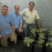 Mike with the Eden staff and the quarantined Inga seedlings