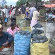 Families selling charcoal in the nearby town